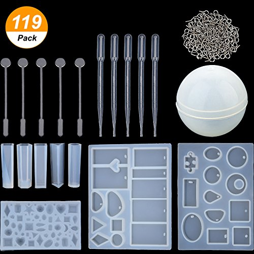 Mtlee 119 Pieces Jewelry Casting Molds and Tools Set, Include Assorted Styles Silicone Resin Molds, Stirrers, Droppers and Screw Eye Pins for DIY Jewelry Craft Making