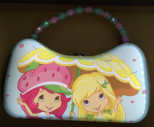 "Strawberry Shortcake Tin Purse ** with Bead Handle ** Appox 9"" Wide"