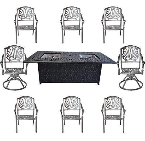 Cast Aluminum Patio Furniture Elisabeth 9 Piece Patio Dining Set Double Burner Propane Table