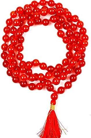 Pulsera Natural de cornalina 108 Collar de Mala | Cornalina Mala | 108 Oración con Cuentas Collar de Mala | Anudadas a Mano Pulsera de Mala | Japa Mala | 8mm Granos Redondos | La meditación Borla