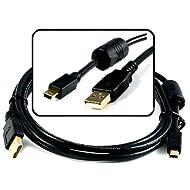 New Gold-Series Version USB Digital Camera Mini-B 5pin Cable with Ferrite Cor...