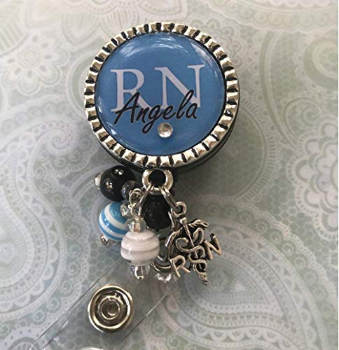 Personalized RN Nurse ID Badge Reel, Same Day SHIPPING, Blue bling Nurse Gift, LPN BSN Custom RN Retractable ID holder, Nurse Gift ()