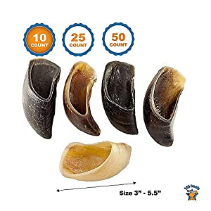 123 Treats – Smoked Cow Hooves (10 Pack) 100% Natural Dog Dental Treats | Dog Beef Chew Hoof from