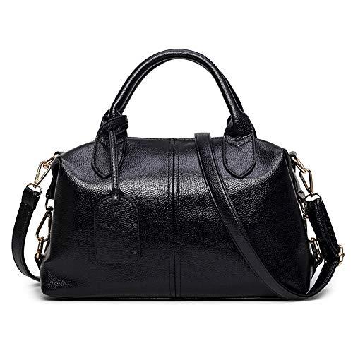 (Sunwel Fashion Women's Faux Leather Medium Boston Bags Shoulder Strap Crossbody Handbag Tote Laptop Satchel Purse (Style B: Black))