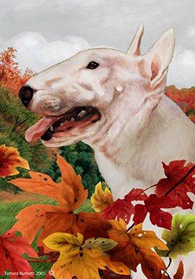 Cheap Bull Terrier White – Tamara Burnett Fall Leaves Large Flags