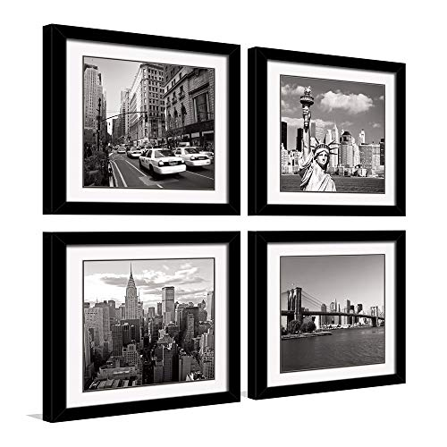 HLJ ART Black Outer Frames Canvas Print Wall Art Decor 3 Piece Black and White Landmark Architecture Paintings for Living Room Decoration (Outer Frames A, 16x16inch)
