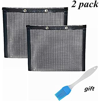 ACGN BBQ Grill Mesh Bag,Non-Stick BBQ Baked Bag Grilling Baking Reusable and Easy to Clean Non-Stick Mesh Grilling Bag with Free Oil Brush (2 Pack)