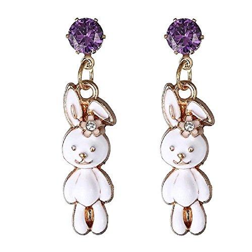 Crystal Bunny Post Dangle -