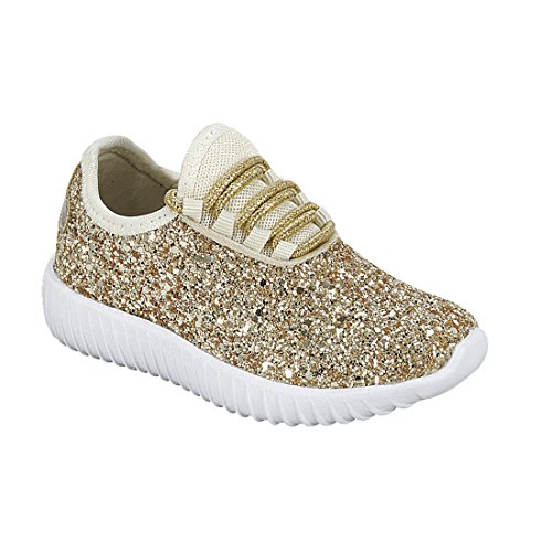 Forever FM74 Women's Lace Up Glitter White Sole Street Sneakers, Color Gold, Size:10