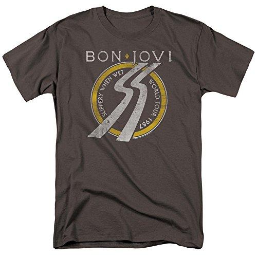 Bon Jovi Slippery When Wet World Tour Unisex Adult T Shirt for Men and Women, X-Large Charcoal (T-shirts Bon Tour Jovi)