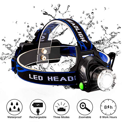 LED Headlamp, Snorda Super Bright LED Headlamp Flashlight with Rechargeable Batteries, 3 Modes Zoomble Waterproof Headlight for Camping, Hiking