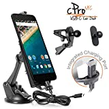 iBOLT cPro NFC Combo Car Dock / Mount USB Type C to USB Type C Charging Cable for Nexus 5X , Nexus 6P w/ 3 mounting options (suction cup mount, vent mount , adhesive mini mount)