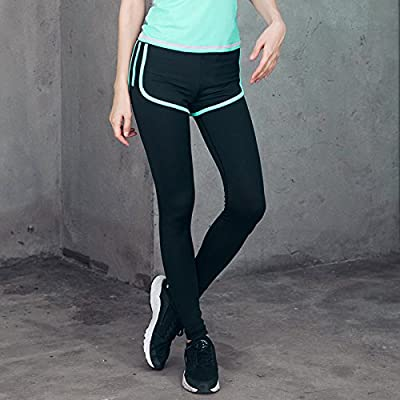PU&PU Femmes Sports Long Leggings Collants de Course Taille Intermédiaire Stretch Fitness Yoga Pantalon