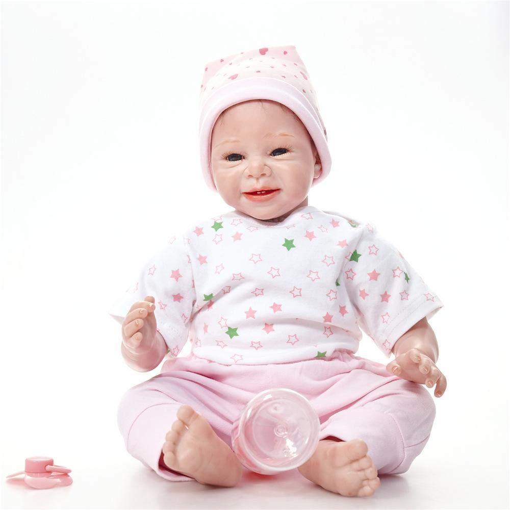 Hongge Reborn Baby Doll,Lebensechte Silikon Reborn Puppe Puppe Puppe Spielzeug Weihnachten Geburtstag Geschenk 55cm c4e08e