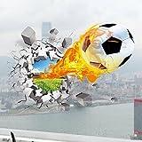 U-Shark 3D Self-adhesive Removable Break Through the Wall Vinyl Wall Sticker/Mural Art Decals Decorator (Flying Fire Football (19.7'' X 27.6''))