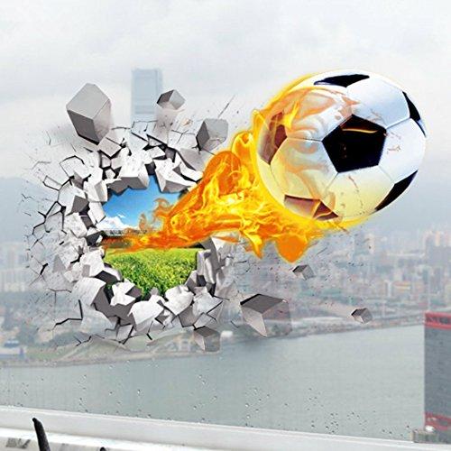 AUVS® 3D- Selbstklebende Abnehmbaren Durchbrechen Die Mauer Vinyl Wandsticker / Wandgemälde Kunst Aufkleber Dekorateur (Unter Feuer Fußball Flying Fire Football (50*70cm))