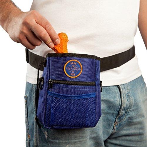 RokaPets-Dog Treat Pouch,Dog Poop Bag,Adjustable Waistband,Dog Training Bag blue-orange,Carries Pet Toys,2 Zippered Pouches