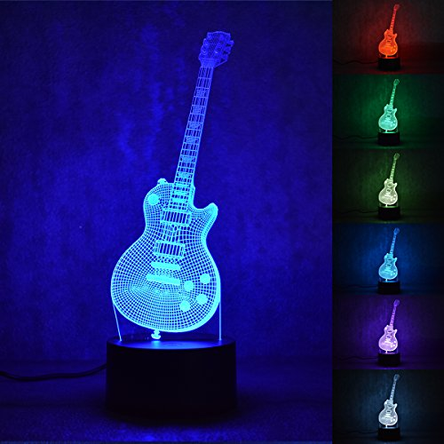 HU XUE GUANG Guitar Lamp 3D Illusion Night Night Lamps,7 Color Changing Lights Desk Table Deco Lamps for Bedroom Home Decor