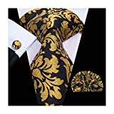 Hi-Tie Yellow Floral Silk Mens Tie with Pocket Square Cufflinks