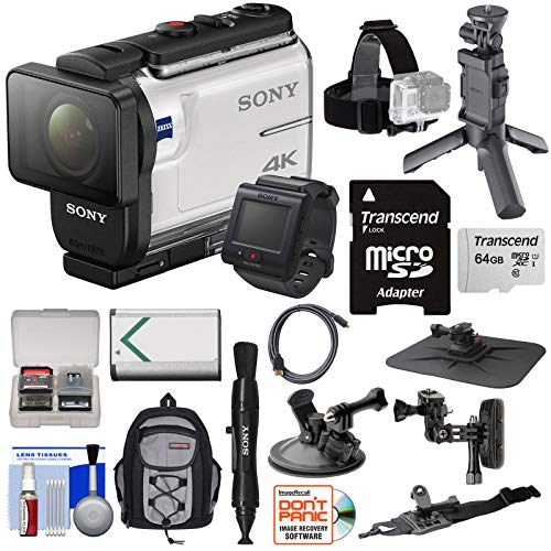 Sony Gps - Sony Action Cam FDR-X3000R Wi-Fi GPS 4K HD Video Camera Camcorder & Live View Remote + Shooting Grip Tripod + Action Mounts + 64GB Card + Battery + Backpack Kit