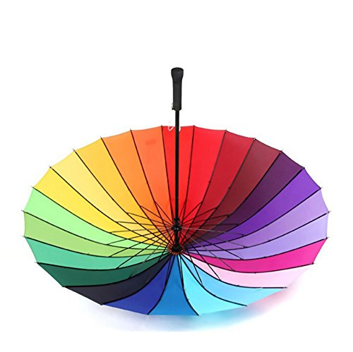Qich® Free Shipping Top Quality 24k Color Rainbow Fashion Long Handle Straight Sun/Rain Stick Umbrella Manual Paraso