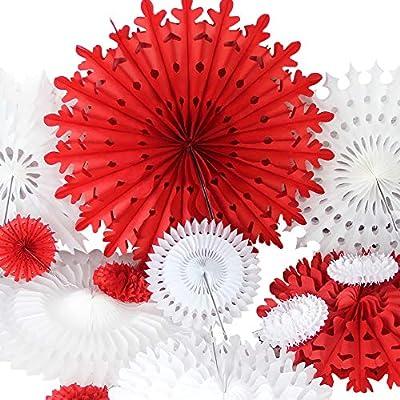 SUNBEAUTY Rosace en Papier Rouge Blanc Rosaces Papier Flocon de Neige  Decoration Suspendre Mariage pour Chambre Mur Supermarché Creche Restaurant  12 ...