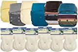 GroVia Hybrid Part Time Package: 6 Shells + 12 Organic Cotton Soaker Pads (Color Mix 5 - Hook & Loop)