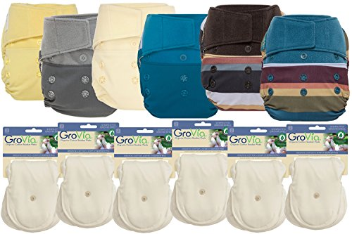 GroVia Hybrid Part Time Package: 6 Shells + 12 Organic Cotton Soaker Pads (Color Mix 5 - Hook & Loop) by GroVia