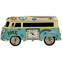 Miniature Sky Blue Camper Van - Caravan Novelty Desktop Collectors Clock 9090