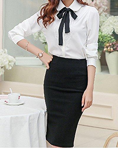 Mujer Blusa Camiseta Bowknot De Mangas Largas De La Gasa Casual Suelta Tops Shirts Blanco