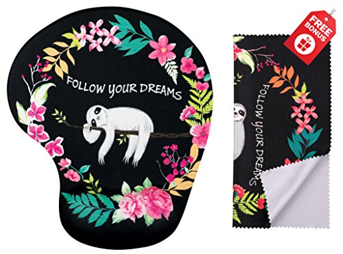 Follow Your Dreams Ergonomic Design Mouse Pad with Wrist Support. Gel Hand Rest. Matching Microfiber Cleaning Cloth for Glasses, Cars & Electronics. Mouse Pad for Laptop, PC Computer and iMac. by One In A Millionaire