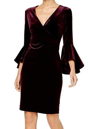 de3b2e77d98b Calvin Klein Women s Velvet Surplice Sheath Dress Purple 2 at Amazon ...