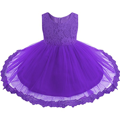 TiaoBug Baby Girls Flower Wedding Pageant Princess Bowknot Communion Party Dress Purple(Lace) 9-12 Months]()
