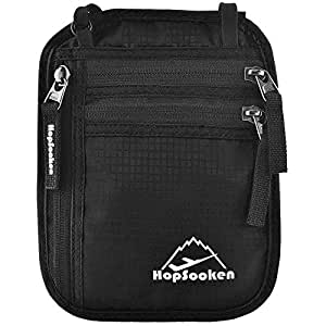 HOPSOOKEN Travel Neck Pouch Passport Holder with Rfid Blocking, Use As Travel Wallet or Hidden Wallet - Protect Your Money, Passport, Credit Cards, Cell Phone and Documents,6 Pockets (New Black)