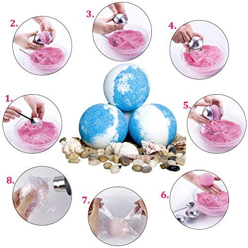 Bath Bomb Mold, Outgeek 217Pcs DIY Bath Bomb Kit Include Metal Bath Bomb Mold 8 Set 16 Pieces 5 Size, 200 Shrink Wrap Bags, Mini Heat Sealer for Bath Bombs Making & Soaps by Outgeek (Image #6)