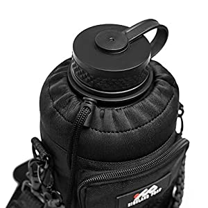 64 oz Sleeve / Pouch with Paracord Survival Carrying Handle by Highland Peak - Adjustable Shoulder Strap - Fits Hydro Flask and Similar Bottles (Black)