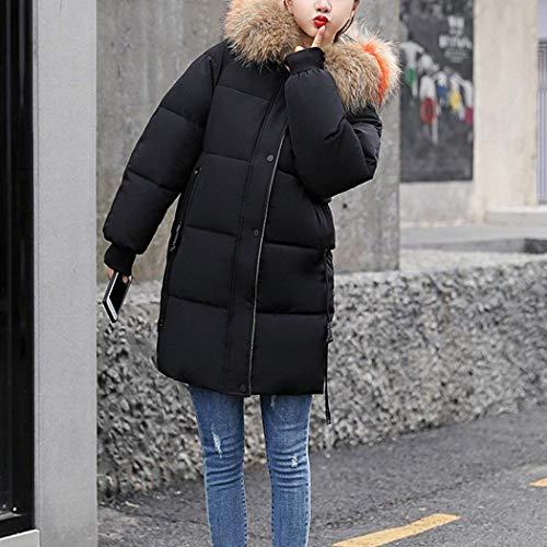 Donna Monocromo Baggy Di Outerwear Con Moda Invernali Giacca Vintage Giaccone Lunga Trapuntata Schwarz Cerniera Tasche Piumini Manica Laterali Caldo 84qdp4w