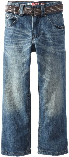 Lee Little Boys' Dungarees Belted Straight Leg Jeans, Jetty, 4/Slim ()