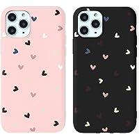 Yoedge 2 Piezas para Apple iPhone X/XS Funda,Carcasa Mate Suave en Silicona TPU con Cute Amor Corazon patrón,Antigolpes…