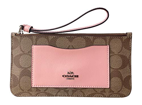 (Coach Signature Zip Top Wallet Wristlet (Khaki Petal))