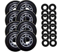 These are a first quality, blank 72mm 82a outdoor wheel. Abec 5 Bearings Included.