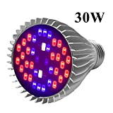 LED Grow Light Bulb, Indoor Plant Growing Lamps Greenhouses, Hydroponics, Full Spectrum, 30W E27