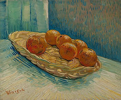 Vincent van Gogh (Still Life with Basket of Six Oranges, March 1888) Canvas Art Print Reproduction (17.7x21.3 in) (45x54 cm)