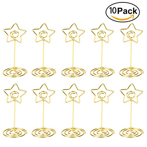 Place Card Holder Gold Table Number Stand Wire Photo Holder Clips Picture ID Card Paper Note Memo Holder Clips for Wedding Party - 10pcs (Star Business Card)