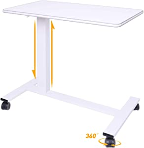 "CHIFONG Reinforced Overbed Table - with Lockable Wheels - Portable Notebook Laptop Desk. Adjustable C Side Table for Bed, Chair, Office - Height: 29""-44"""
