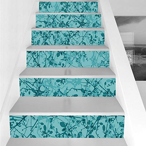 Stair Stickers Wall Stickers,6 PCS Self-adhesive,Teal,Ink Drawing Inspired Intertwined Tree Branches Buds and Leaves in Abstract Design Decorative,Teal Turquoise,Stair Riser Decal for Living Room, Hal -  HongKong Fudan Investment Co., Limited, AHLY_LTT02088K100XG18X6P