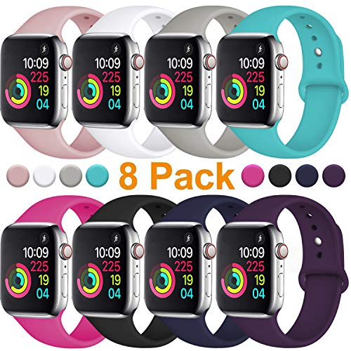 Fuleda Compatible with Apple Watch Band 40mm 38mm, iWatch Band 40mm 38mm, 8 Pack, S/M