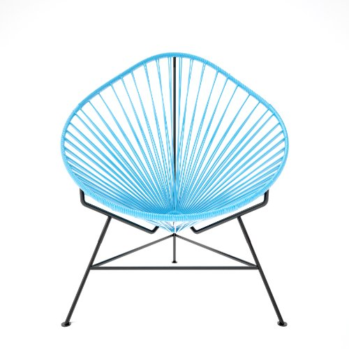 Innit Designs Micro-Acapulco Rocking Chair, Black Frame with Blue Weave