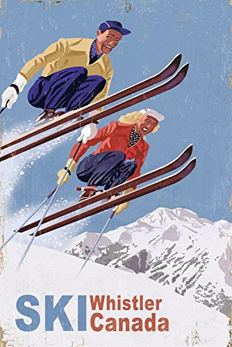 - Vintage Skiers (12x18 Signed Print Master Art Print w/Certificate of Authenticity - Wall Decor Travel Poster) ()
