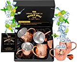 Set of 4 Moscow Mule Copper Mugs with Stainless Steel Lining & Shot Glass in Large Gift Box | Premium Double Wall Heavy Copper Cups | Hammered, Food Safe, Lined, Barrel Shape Mule Mugs